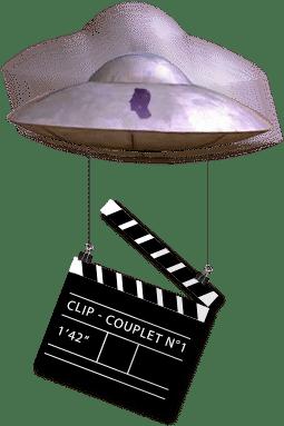 soucoupe volante portant un clip de cinéma