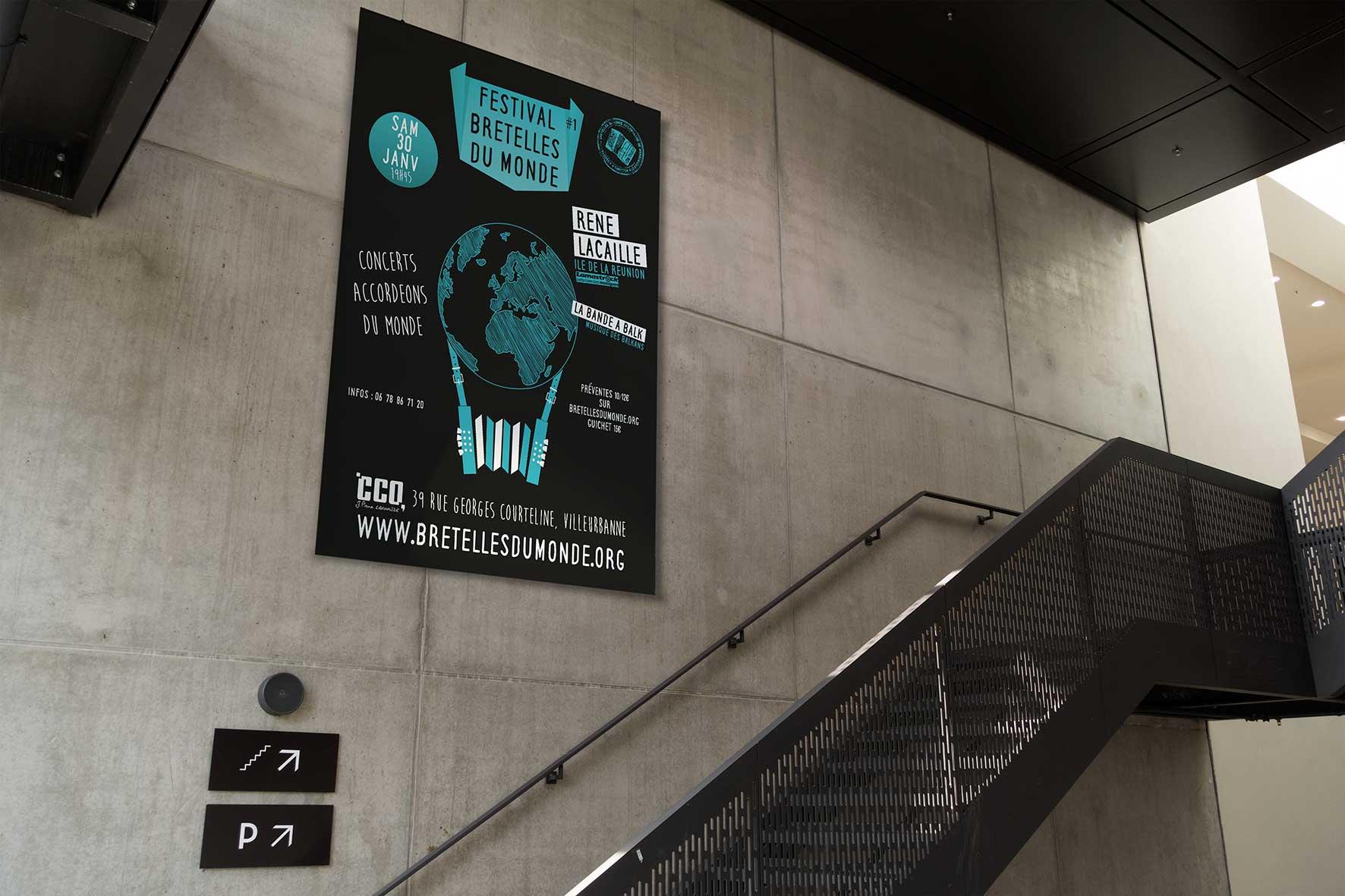 Affiche festival bretelles du monde janvier 2016 - métro Lyon