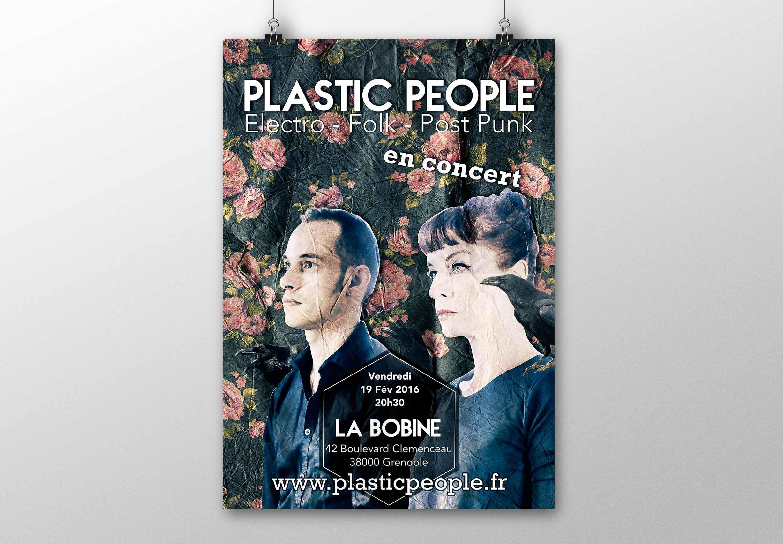 affiche concert plastic people à la bobine à Grenoble