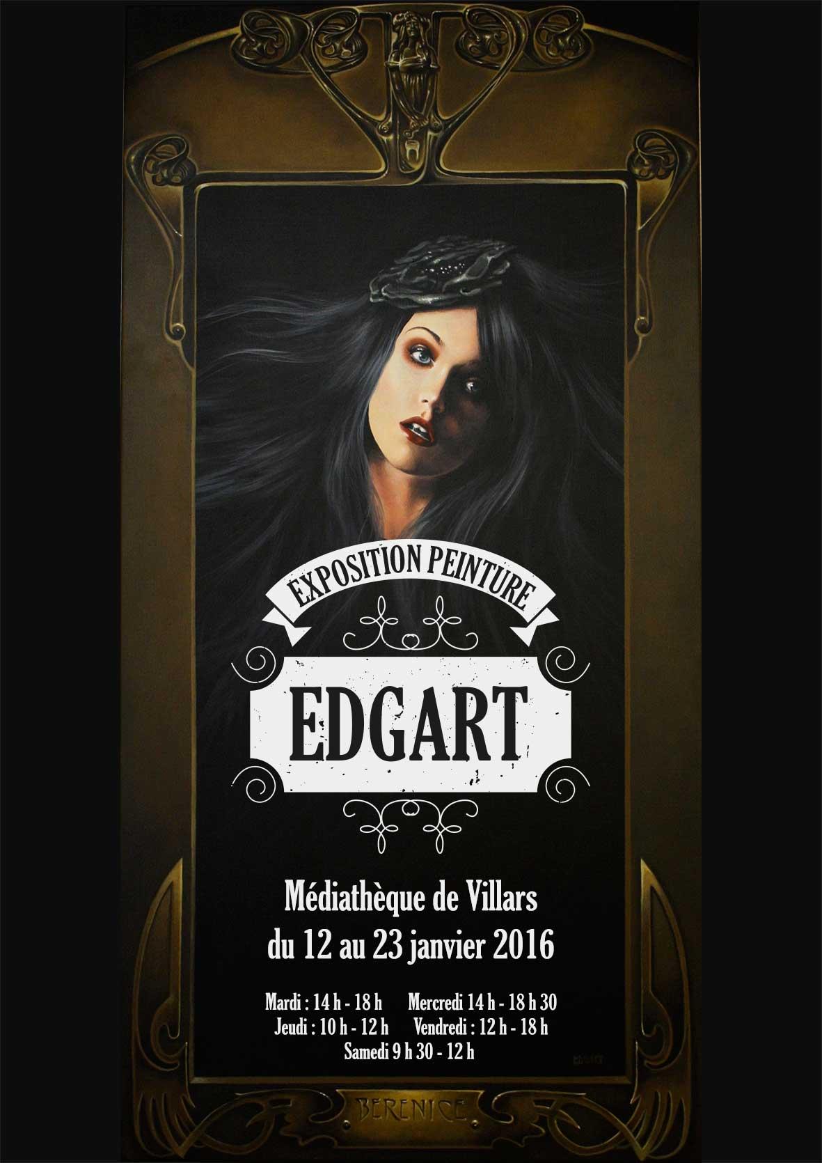 Affiche exposition peintre Edgar à Villars